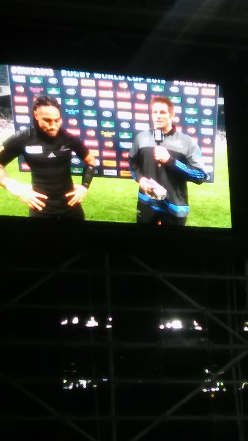 The All Blacks captain congratulates Nonu on his 100th match.